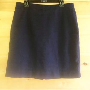 J. Crew back split blue cotton lined midi skirt